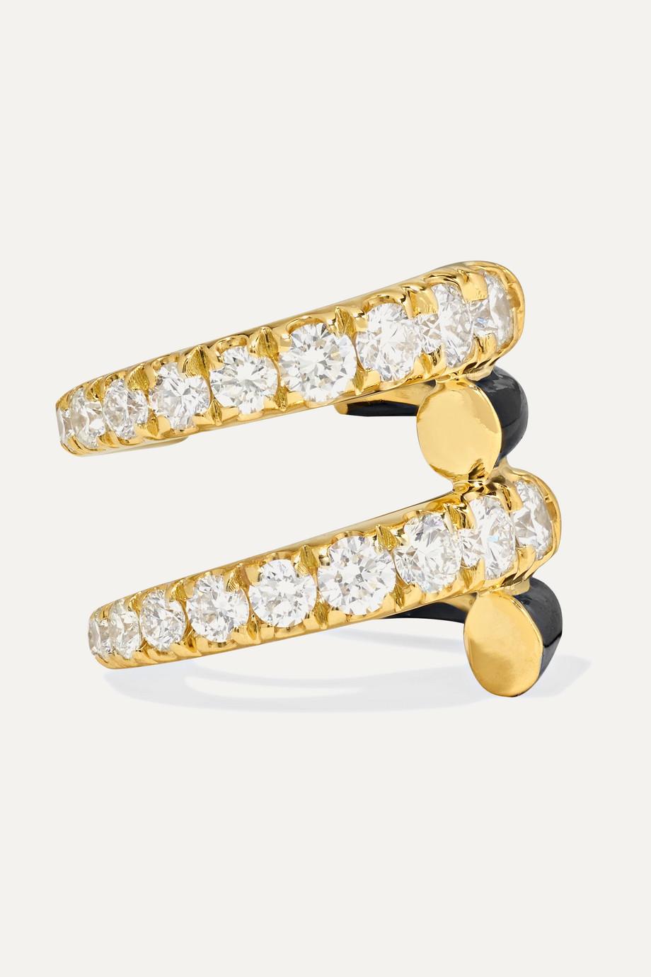 Melissa Kaye Lola Ear Cuff aus 18 Karat Gold mit Diamanten und Emaille