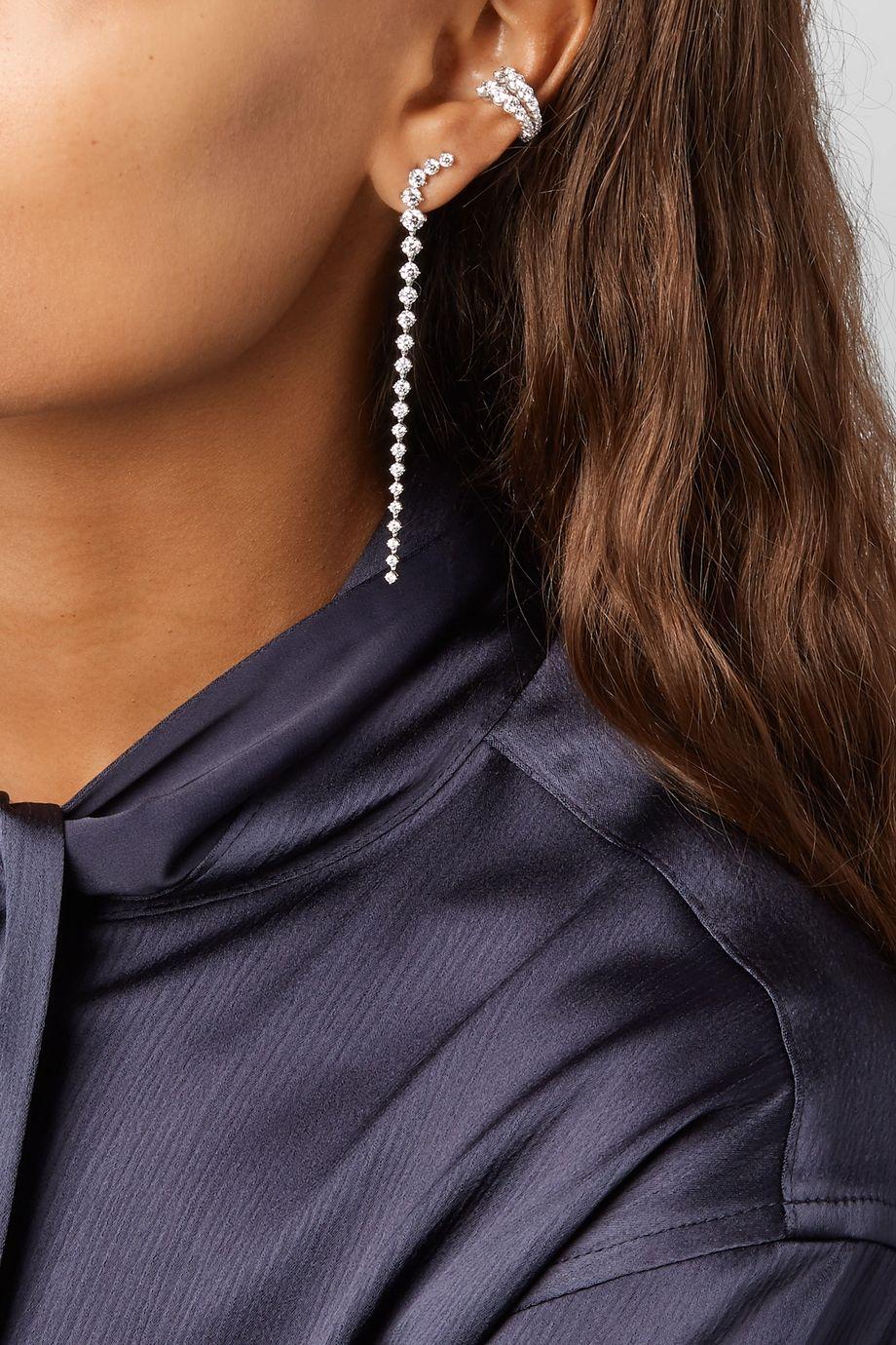 Melissa Kaye Aria Dagger 18-karat white gold diamond earrings