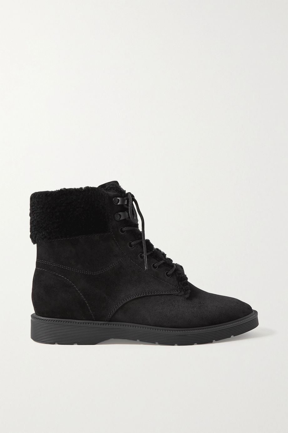 Vince Hayes shearling-trimmed suede ankle boots