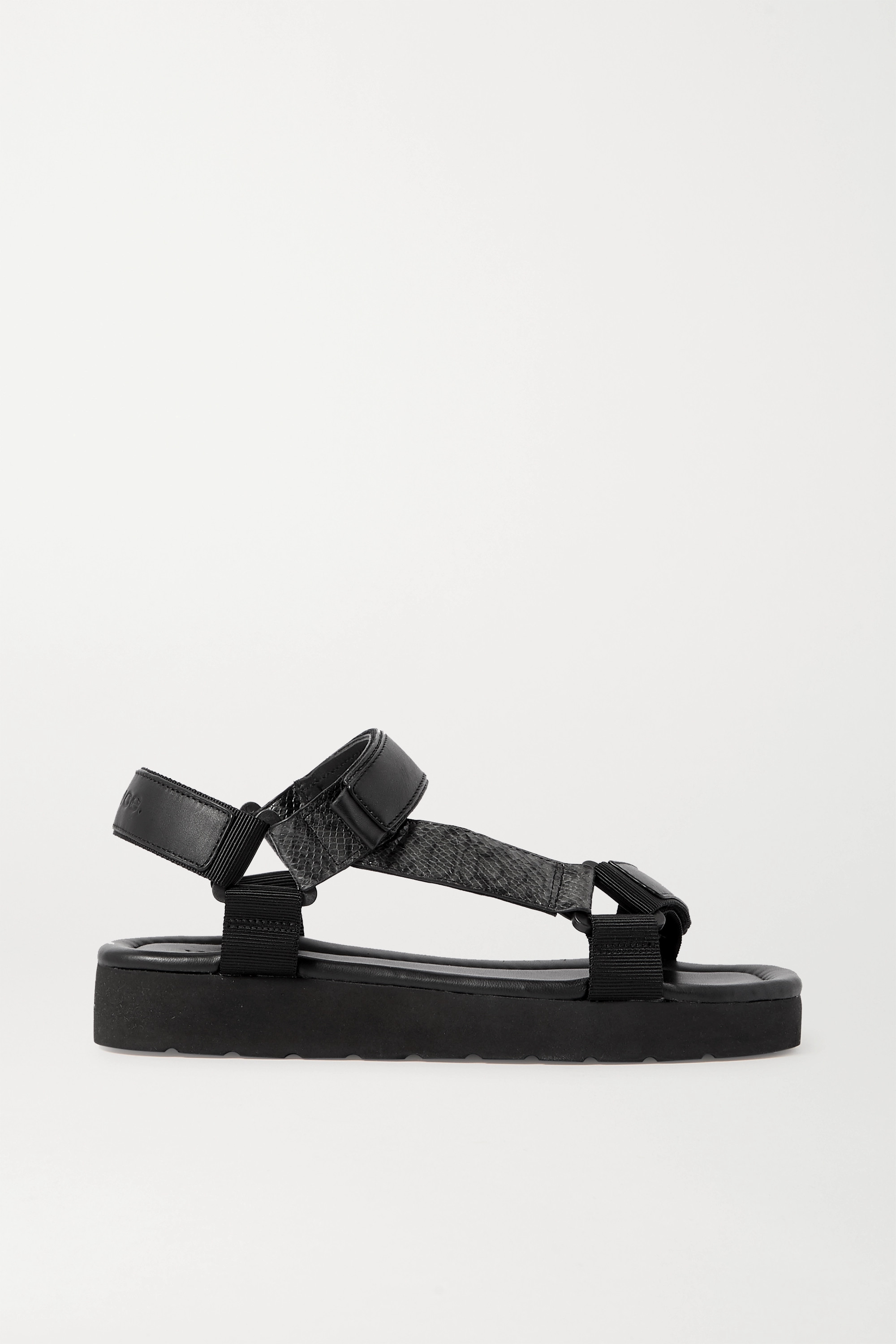 Vince Carver canvas-trimmed smooth and lizard-effect faux leather sandals