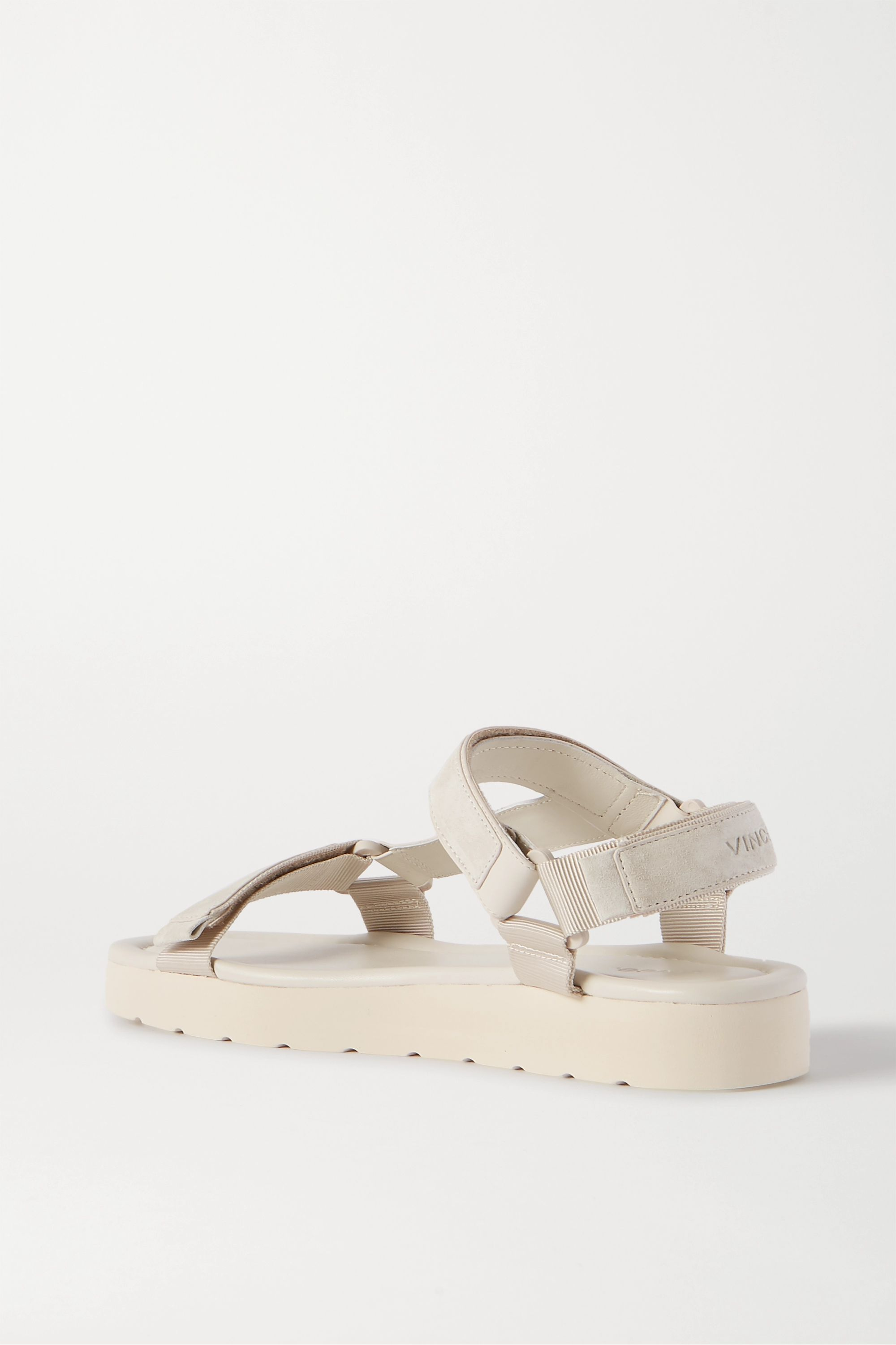 Vince Carver canvas-trimmed faux suede and leather sandals