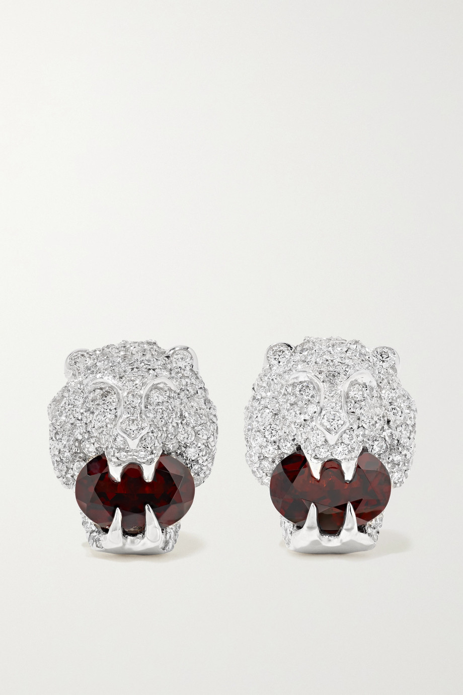 Gucci 18-karat white gold, diamond and garnet earrings