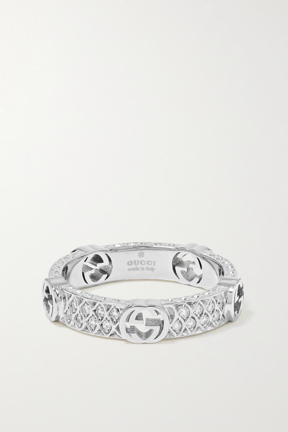 Gucci 18-karat white gold diamond ring