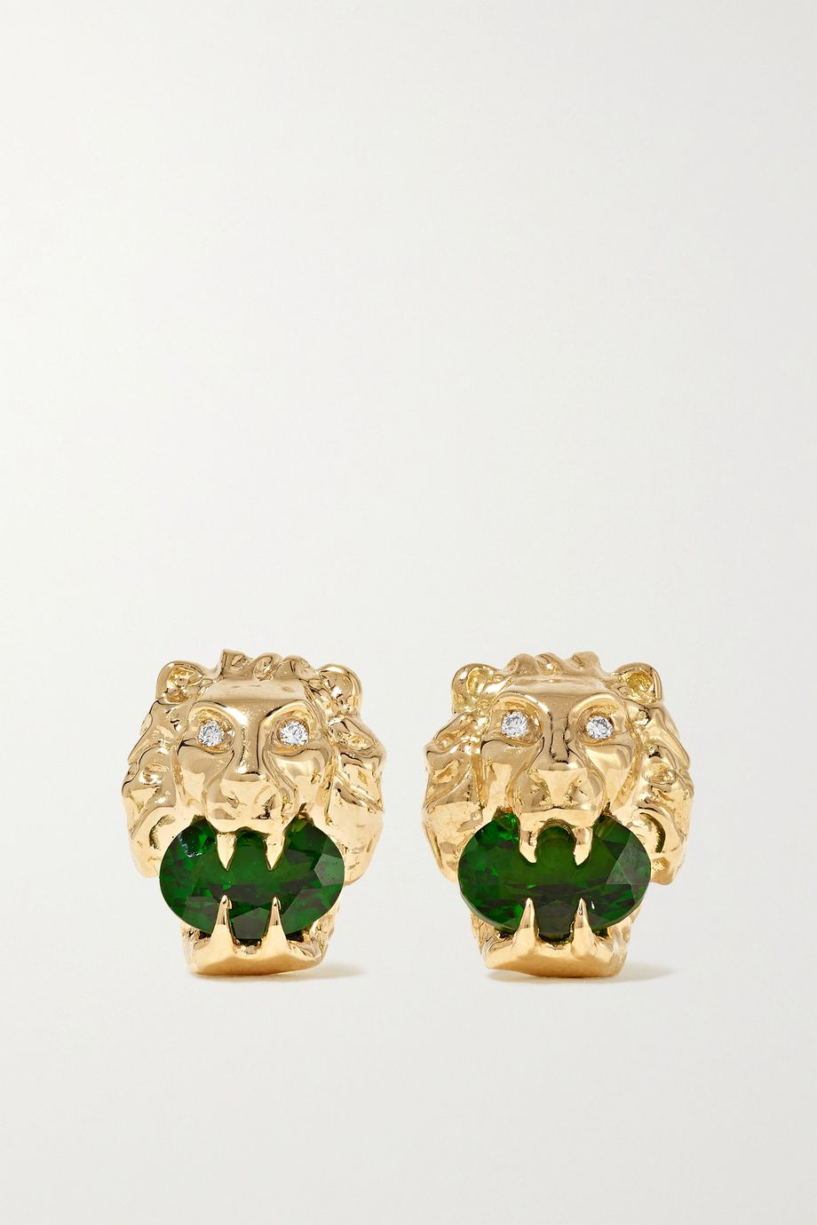 Gucci 18-karat gold, chrome diopside and diamond earrings