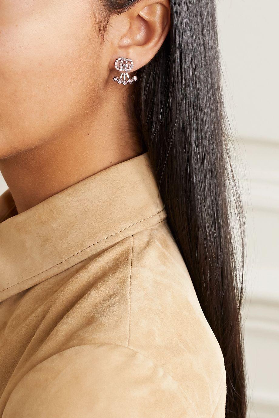 Gucci 18K 白金托帕石耳环