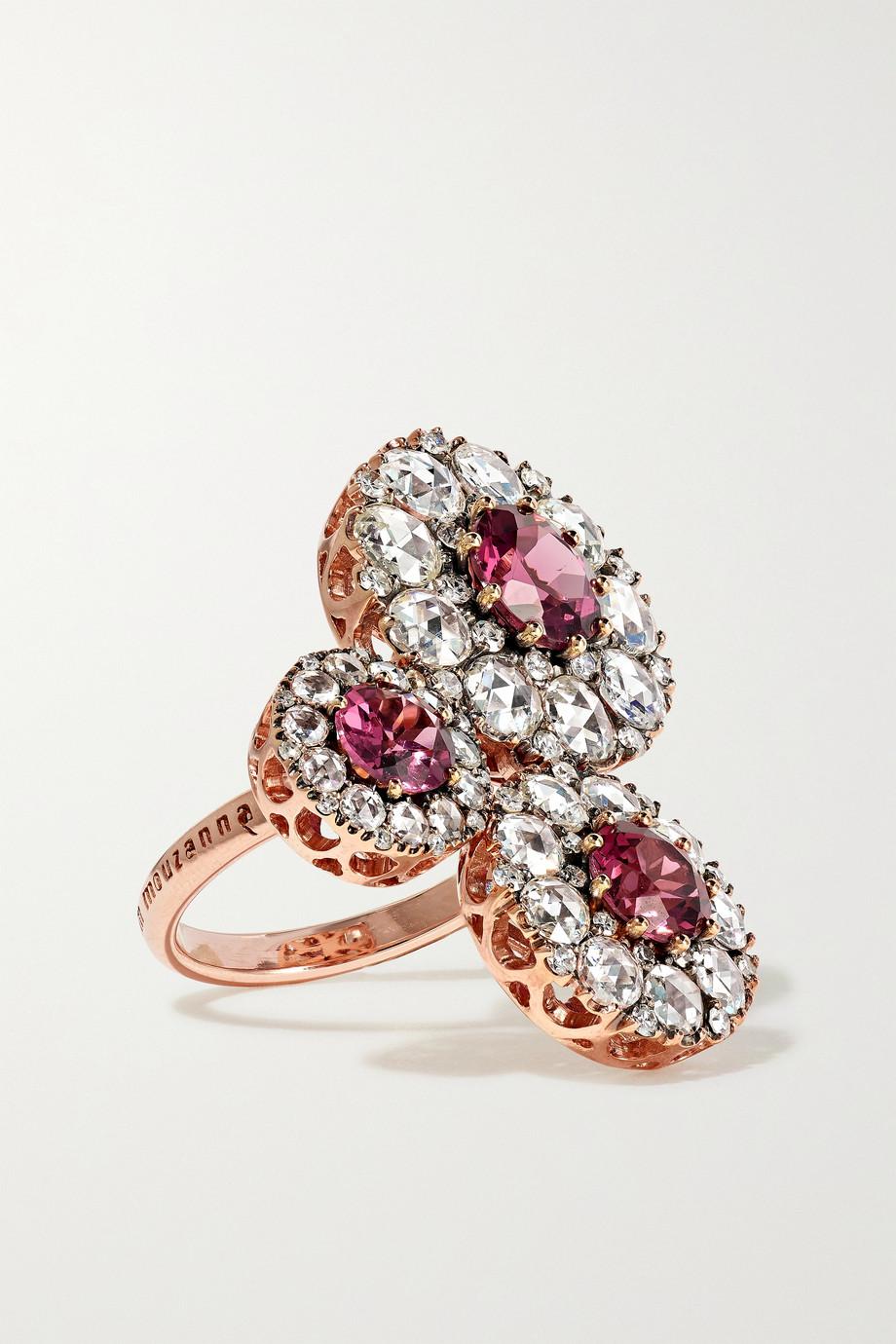 Selim Mouzannar Beirut Ring aus 18 Karat Roségold mit Diamanten und Rhodolithen