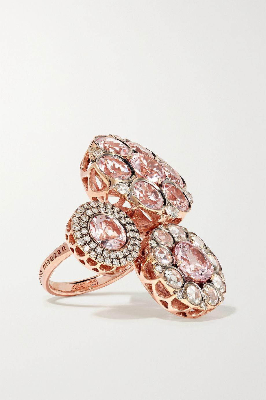 Selim Mouzannar Beirut Ring aus 18 Karat Roségold mit Morganiten und Diamanten