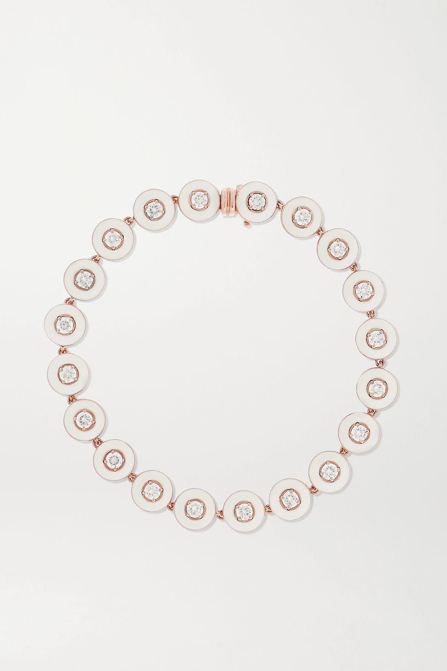 Selim Mouzannar Armband aus 18 Karat Roségold mit Emaille und Diamanten