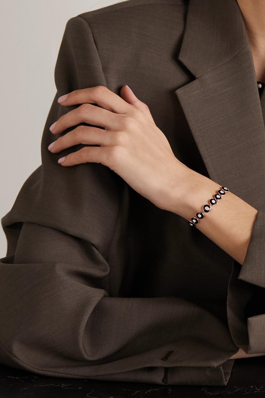 Selim Mouzannar Bracelet en or rose 18 carats, émail et diamants Mina