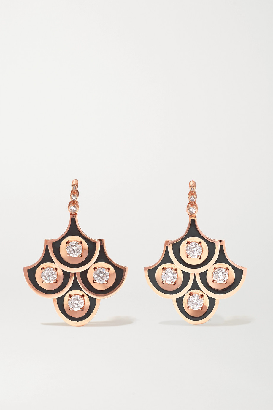 Selim Mouzannar Boucles d'oreilles en or rose 18 carats, émail et diamants Mina
