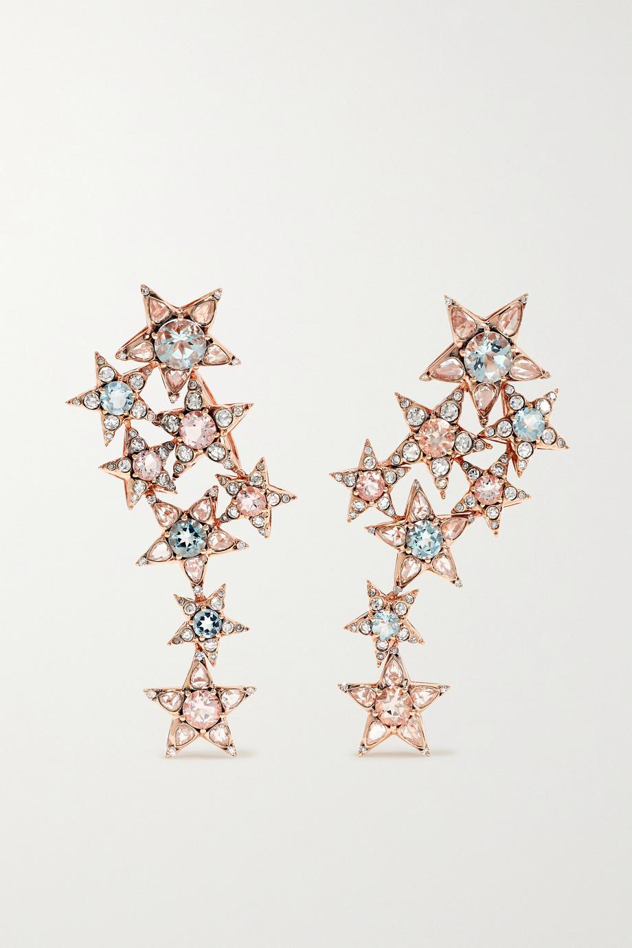 Selim Mouzannar Boucles d'oreilles en or rose 18 carats et pierres multiples Istanbul