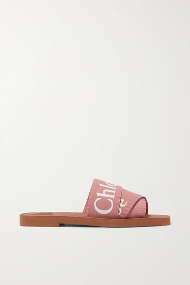 ChloÉ Woody Flat Logo Ribbon Slide Sandals In 粉色
