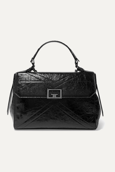 Givenchy Id Medium Quilted Crinkled Glossed-leather Shoulder Bag In Black