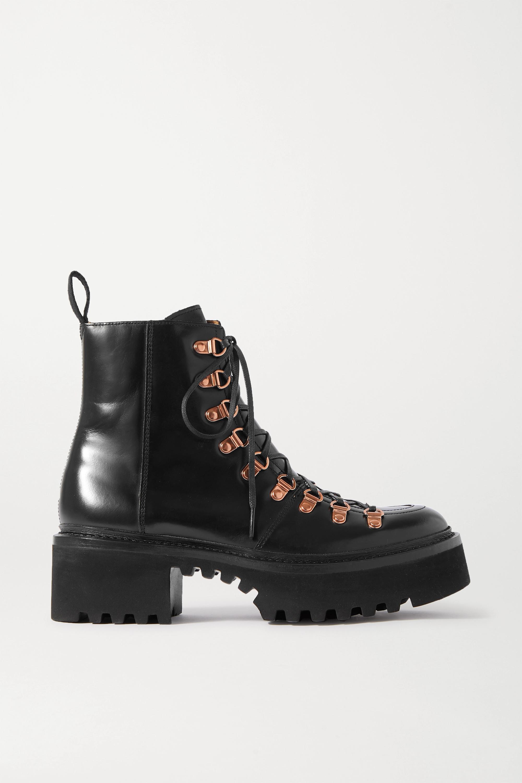 Black Leather Platform Boots | TJ