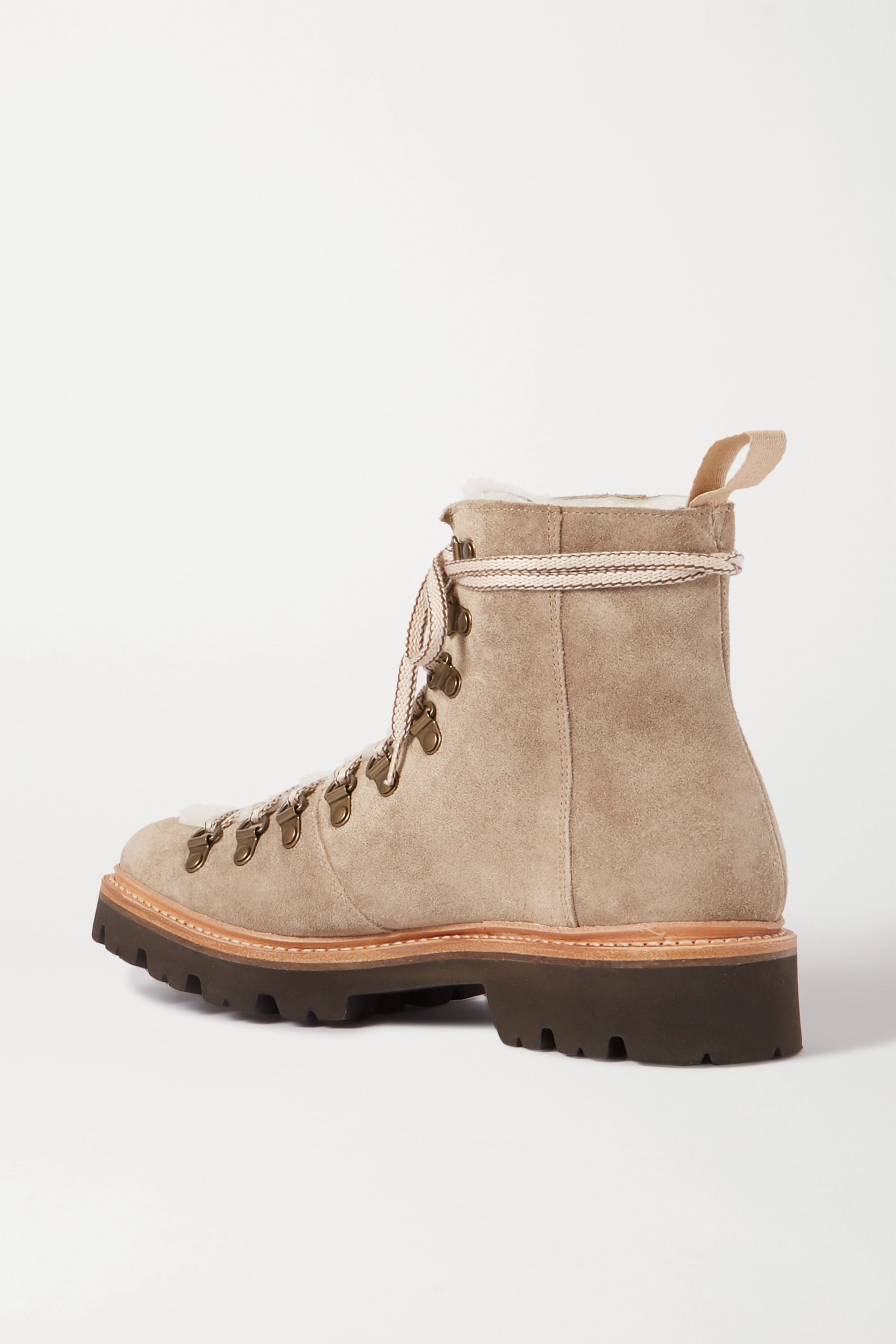 Grenson Nanette shearling-trimmed suede boots