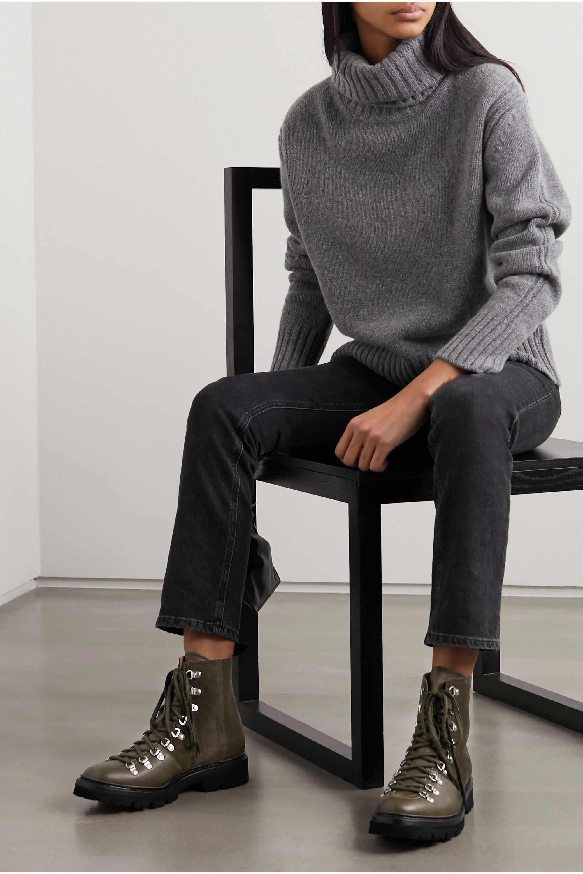 Grenson Nanette textured-leather and suede ankle boots