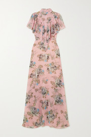 Ruffled floral-print georgette maxi dress