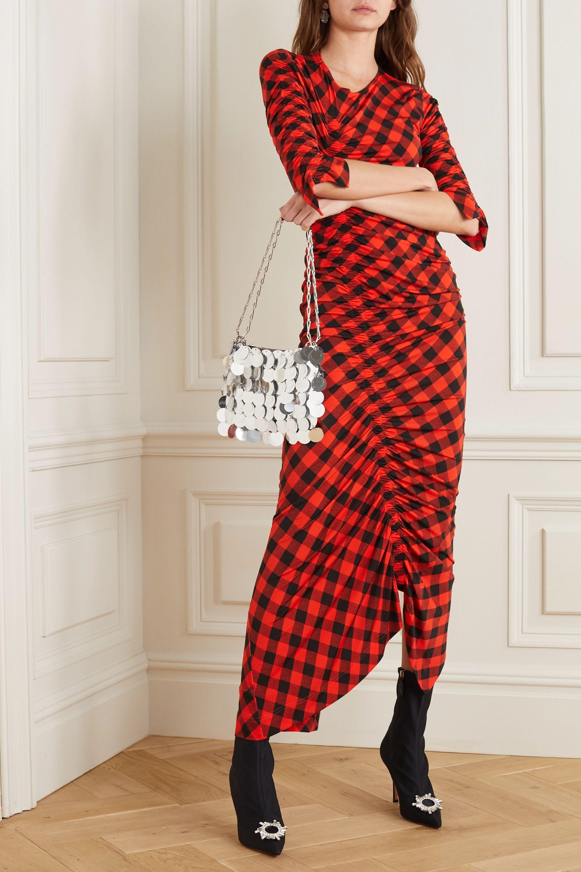 Preen by Thornton Bregazzi Asymmetric ruched gingham stretch-crepe dress