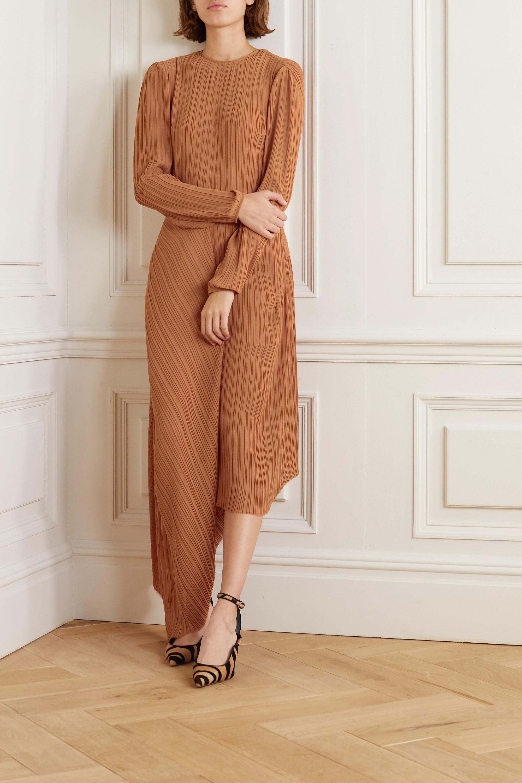 Preen by Thornton Bregazzi Glenda asymmetric plissé-georgette midi dress