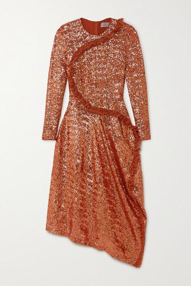 Sequin Mesh Midi Dress