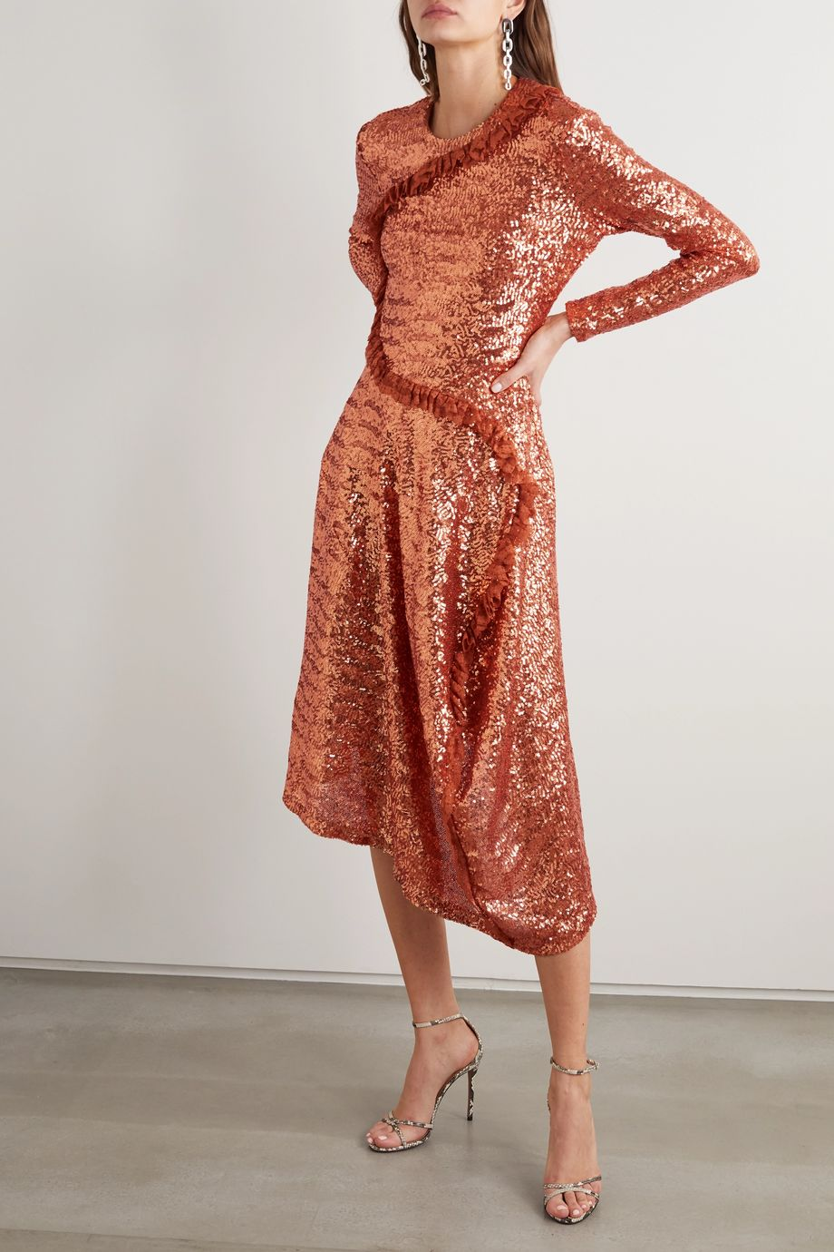 Preen by Thornton Bregazzi Yasmeen asymmetric lace-trimmed sequined mesh midi dress