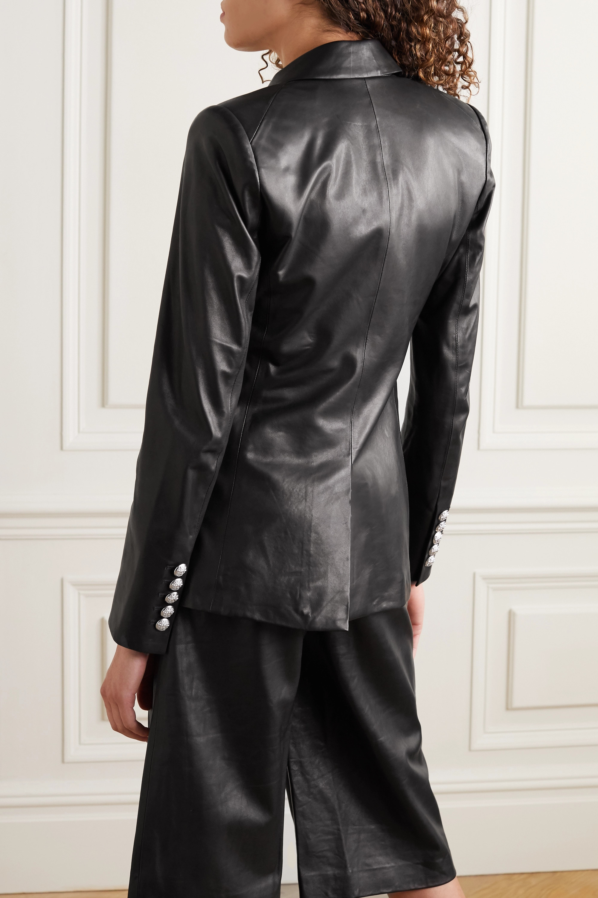 Veronica Beard Miller Dickey double-breasted leather blazer