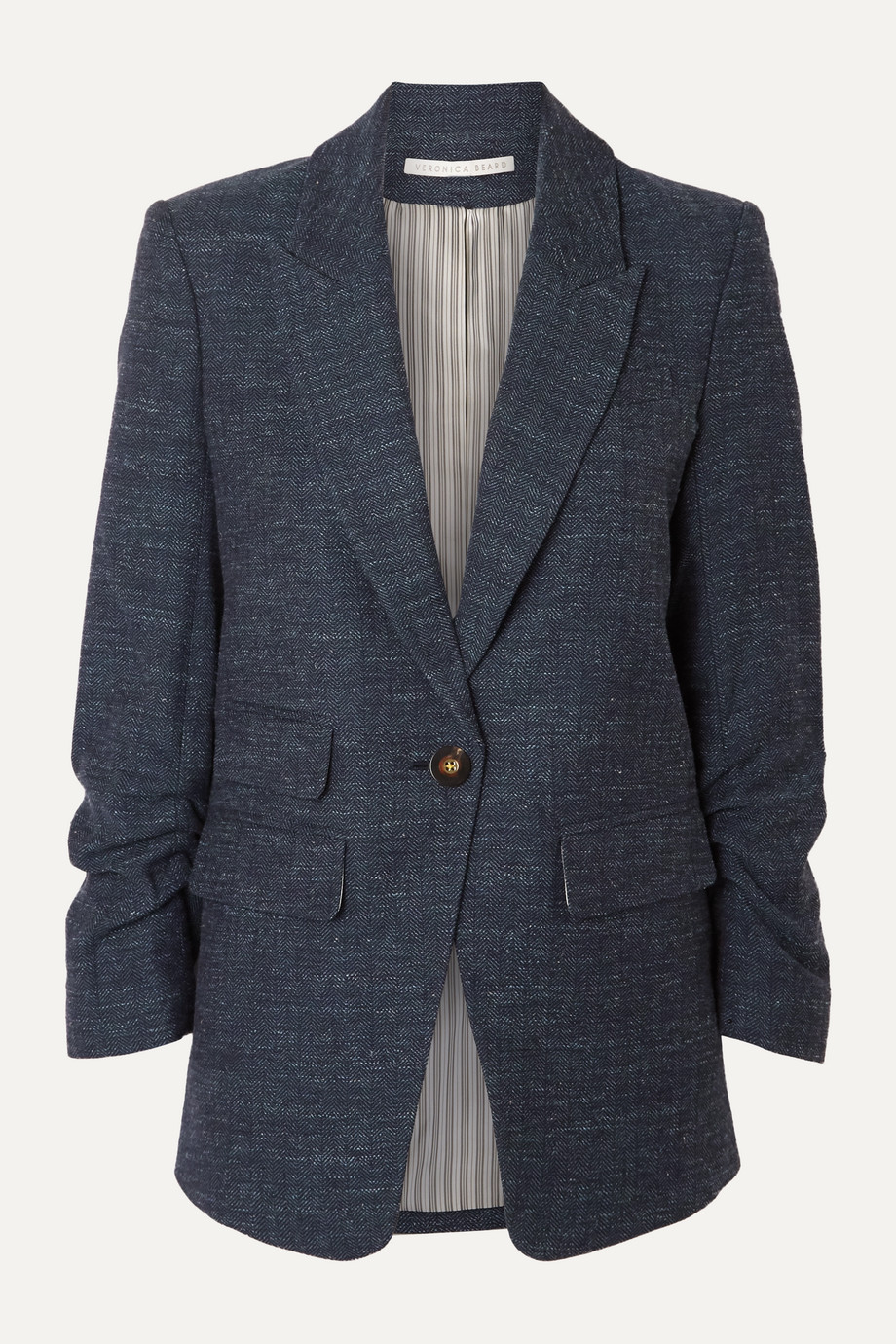 Veronica Beard Martel Dickey herringbone wool, cotton and linen-blend blazer