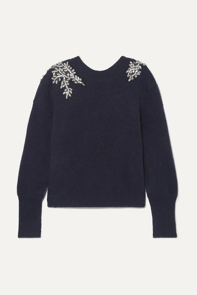 Veronica Beard Knits Valerie crystal-embellished knitted sweater