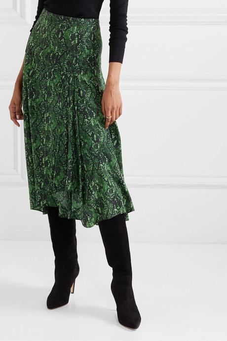 Ramos snake-print stretch-silk midi skirt