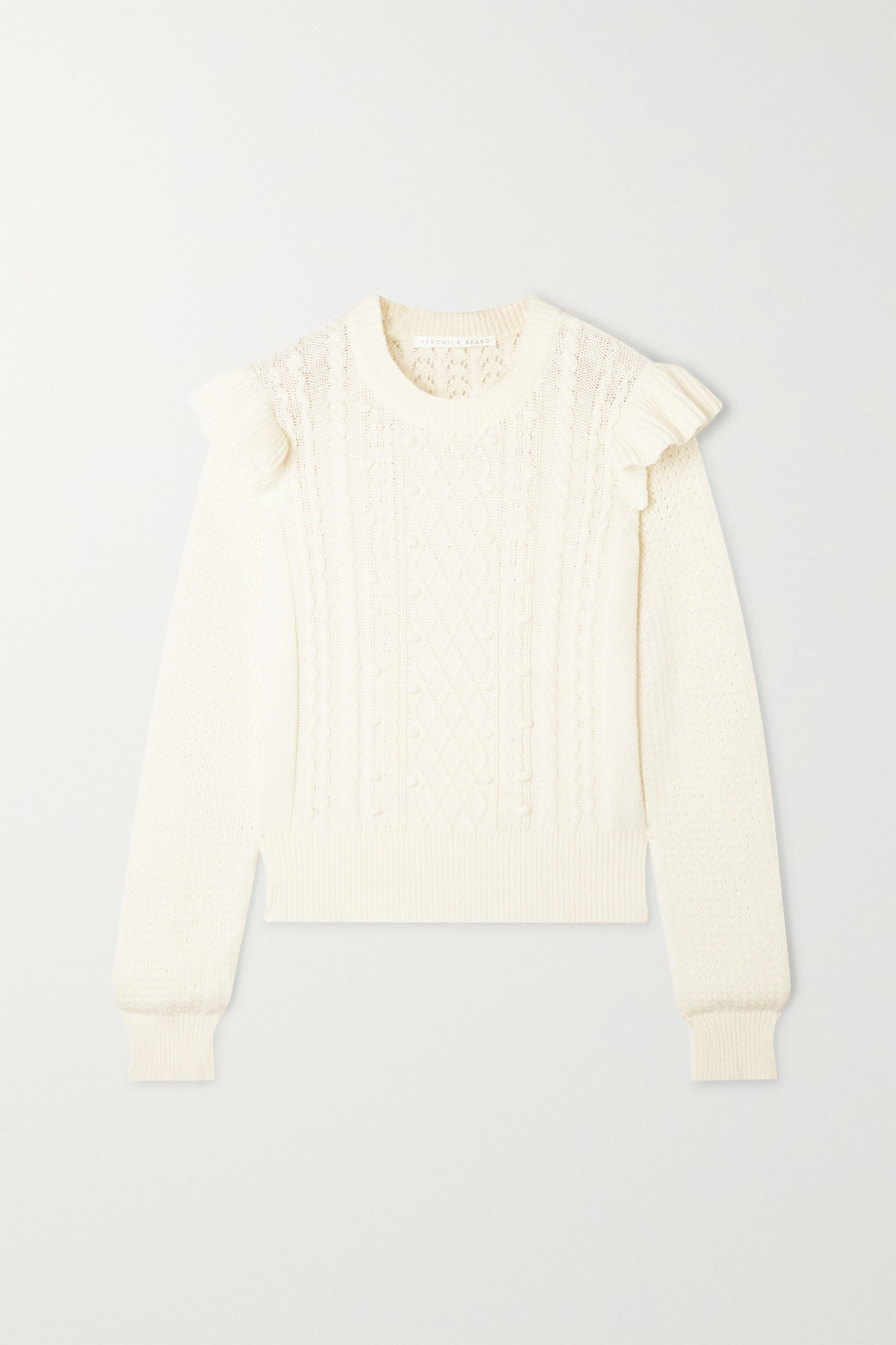 Veronica Beard Earl ruffled cable-knit cotton-blend sweater