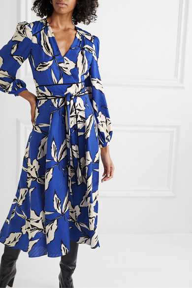 Mclean Belted Wrap Effect Printed Silk Blend Jacquard Midi Dress by Veronica Beard