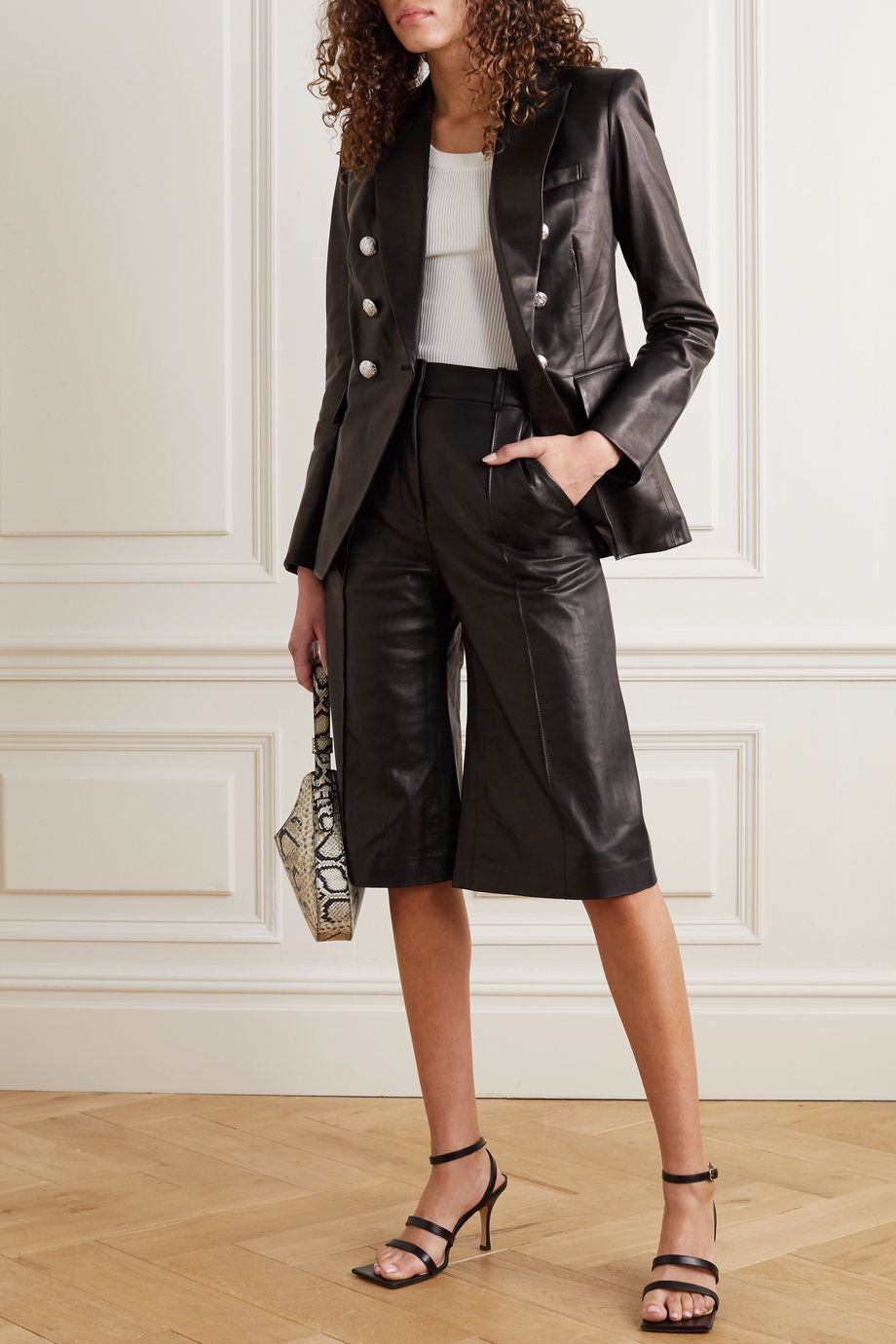 Veronica Beard Arnold leather culottes