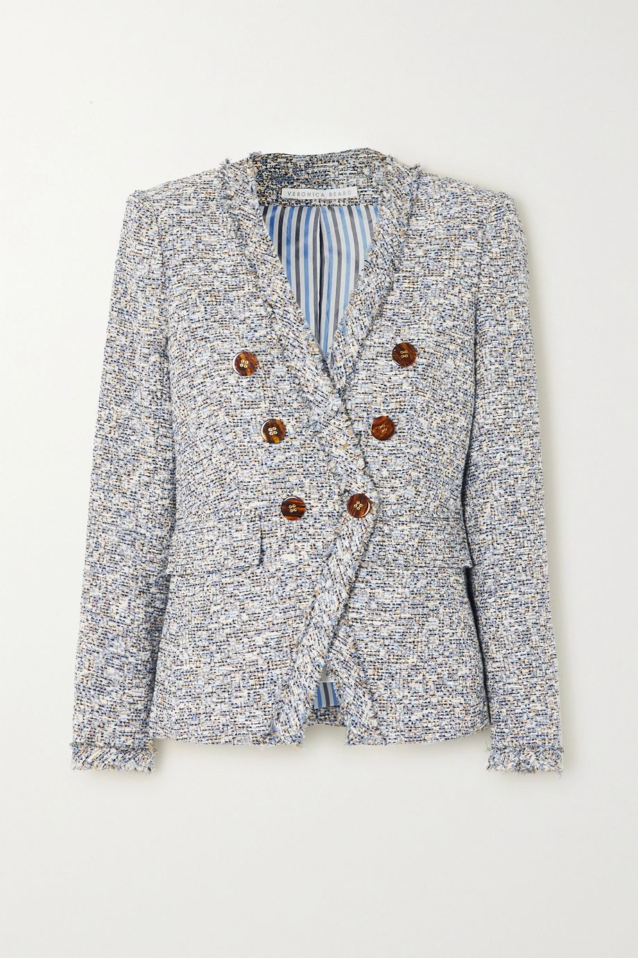 Veronica Beard Cedric Dickey double-breasted frayed cotton-blend tweed blazer