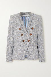 Cedric Dickey double-breasted frayed cotton-blend tweed blazer