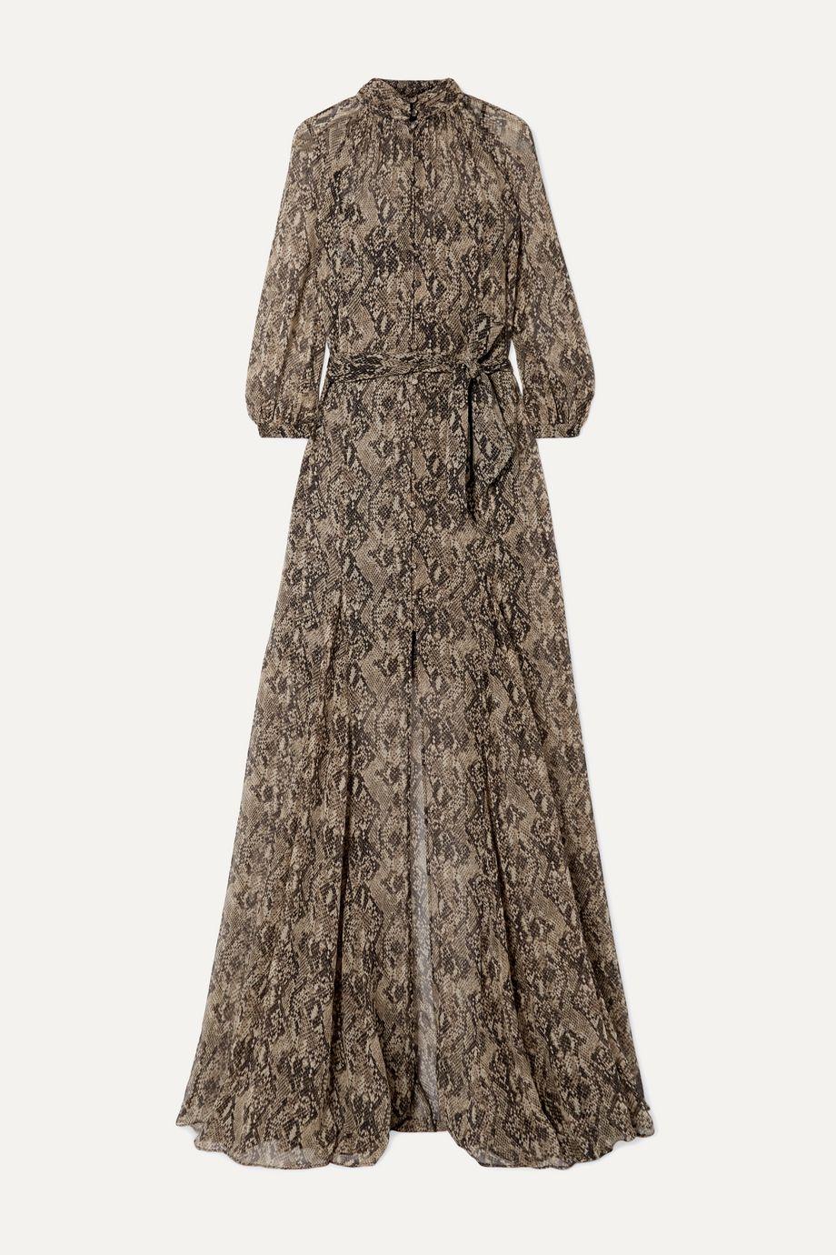 Veronica Beard Robe longue en mousseline de soie à imprimé serpent et à ceinture Ascot