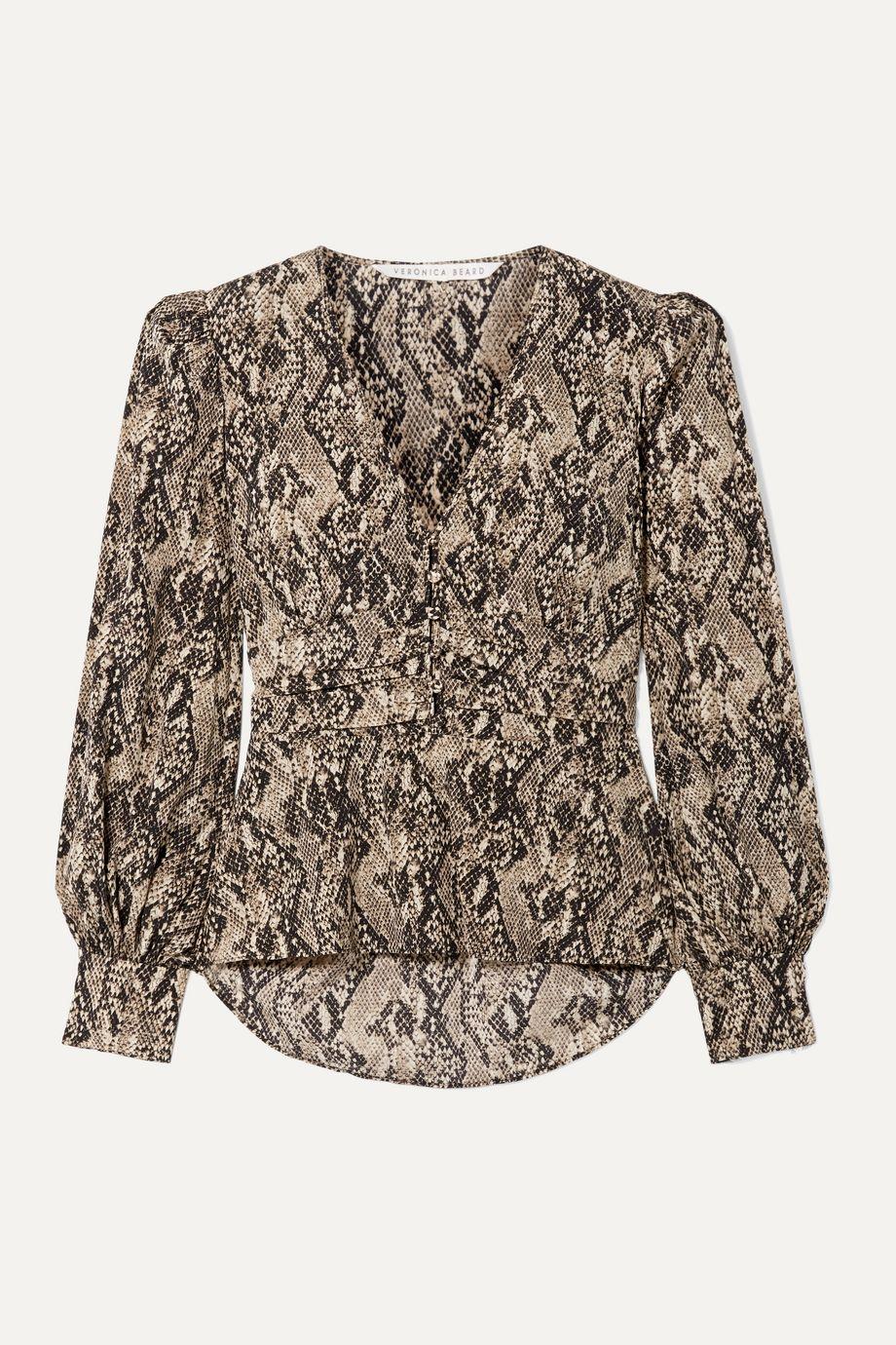 Veronica Beard Thea snake-print stretch-silk chiffon blouse