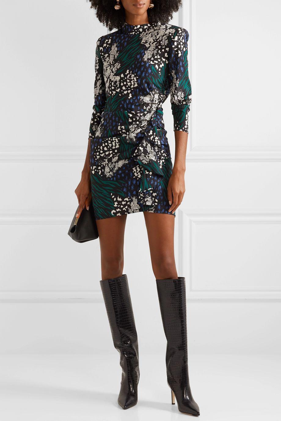 Veronica Beard Mini-robe en crêpe de Chine de soie stretch à imprimés animaliers et à volants Louella
