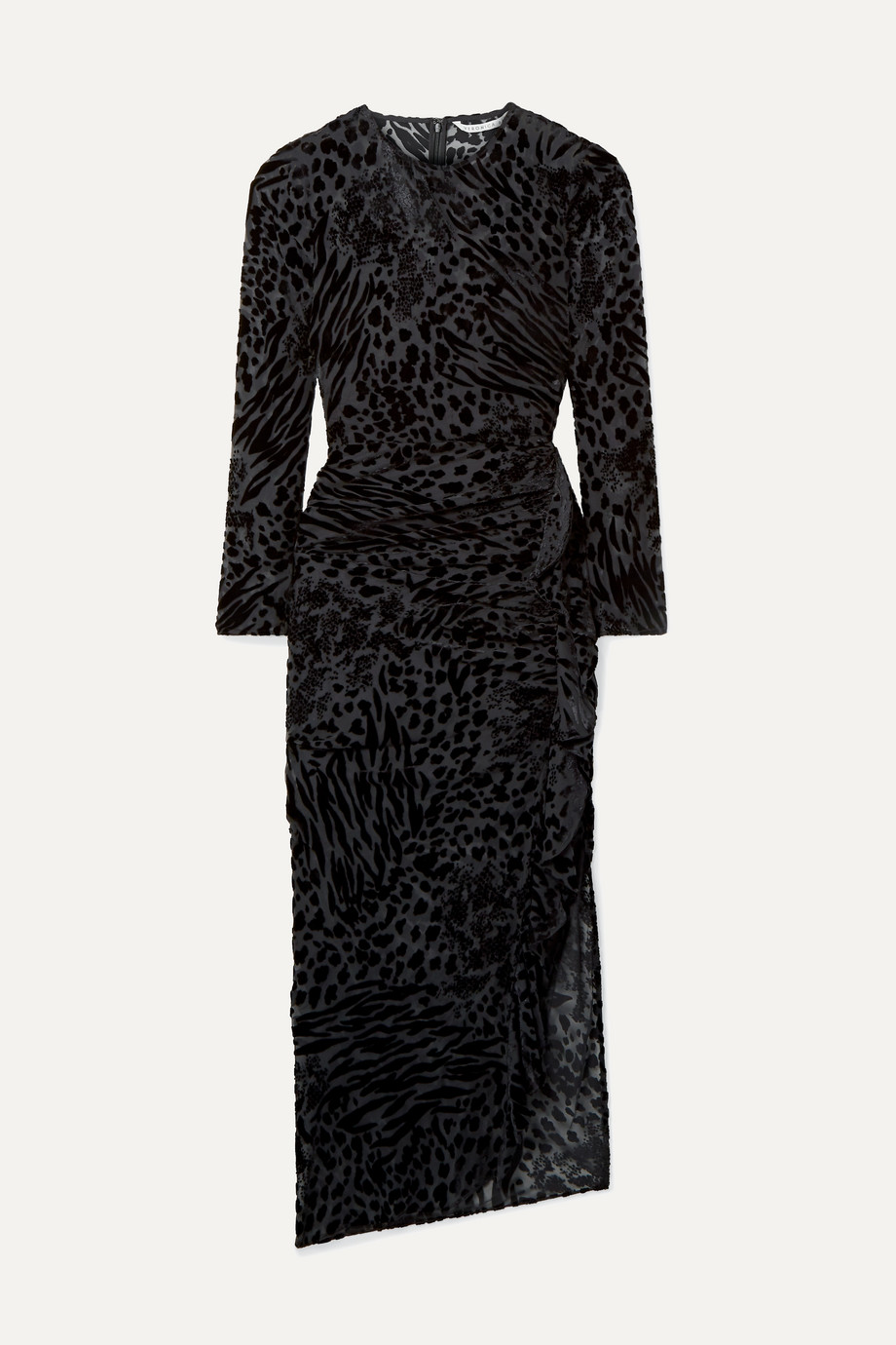 Veronica Beard Lala ruffled flocked chiffon midi dress