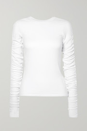 Clement ruched ribbed stretch-modal top