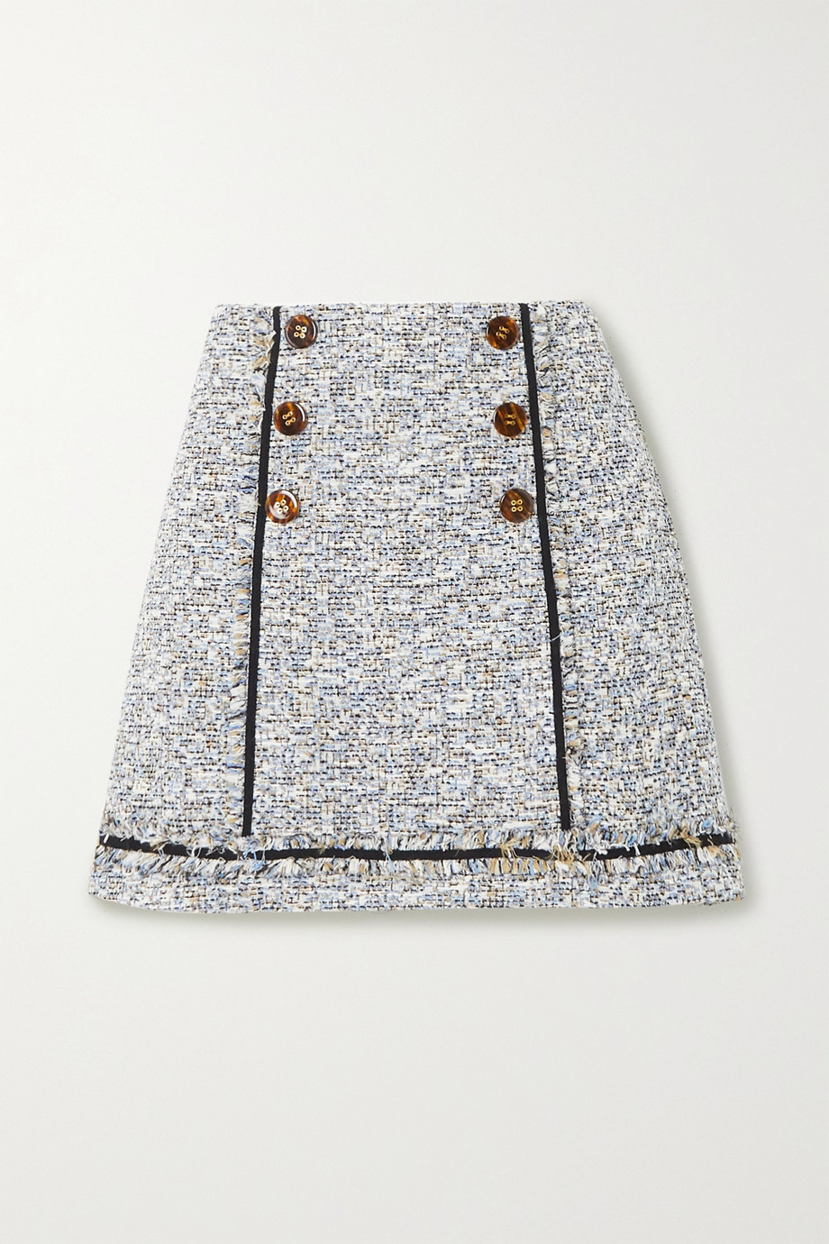 Veronica Beard Alfie button-embellished frayed cotton-blend tweed mini skirt