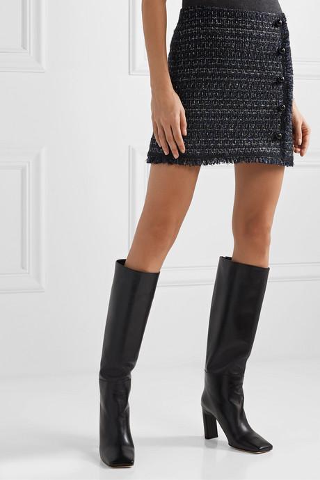 Mirabella button-embellished metallic tweed mini skirt