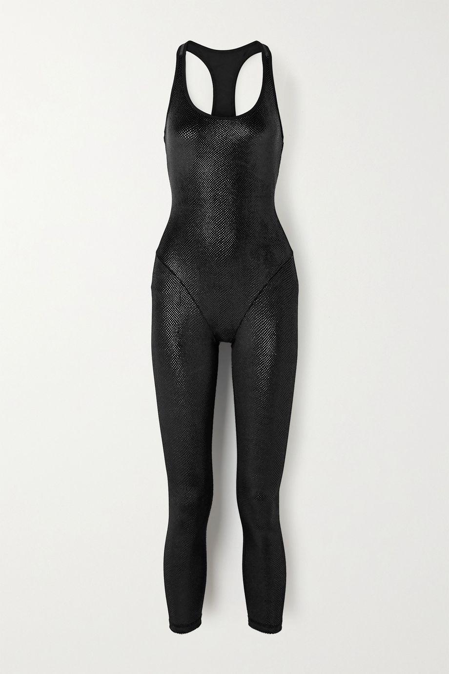 Adam Selman Sport Cutout printed stretch-velvet jumpsuit