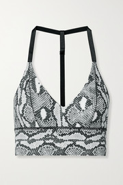 Adam Selman Sport Snake-print stretch sports bra