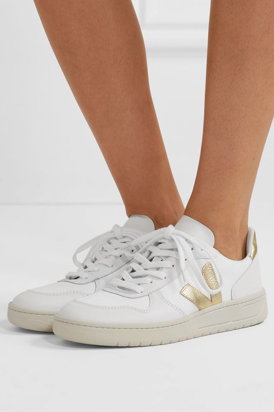 Veja V-10 metallic-trimmed mesh and leather sneakers