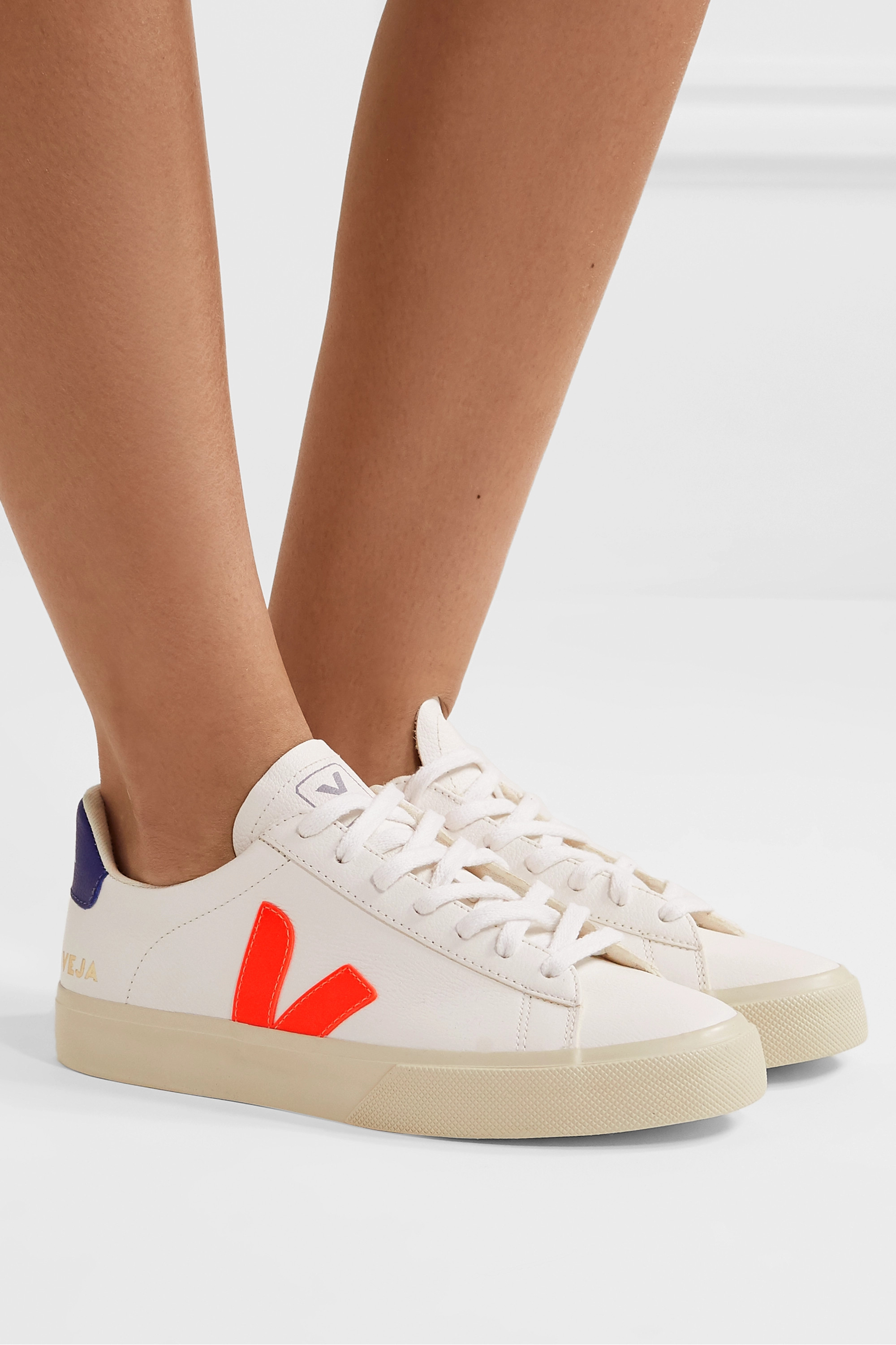 White Campo textured-leather sneakers