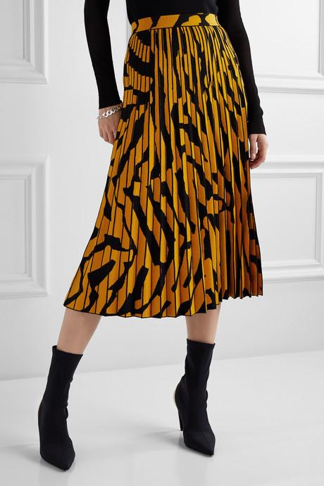 Pleated stretch jacquard-knit midi skirt