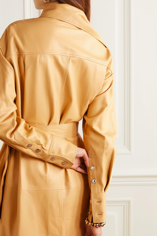 Proenza Schouler Midikleid aus Leder mit Gürtel