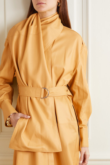 Belted draped leather midi dress