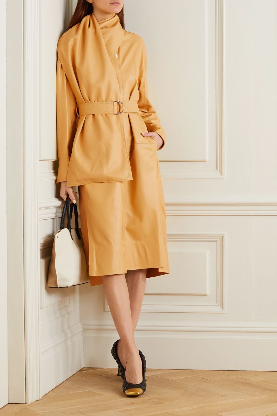 Proenza Schouler Belted draped leather midi dress