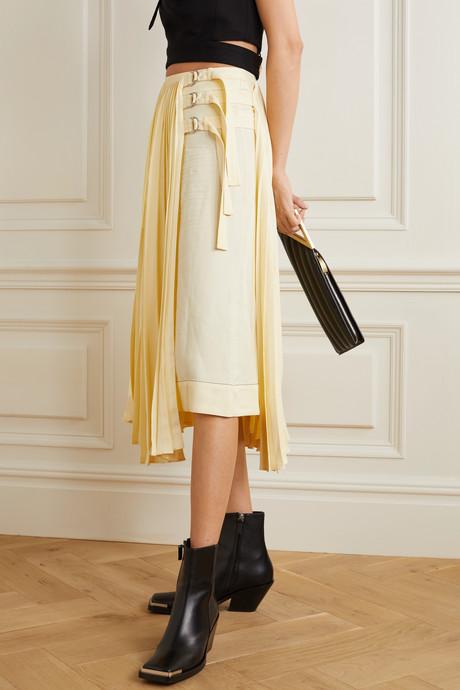 Asymmetric pleated woven wrap skirt